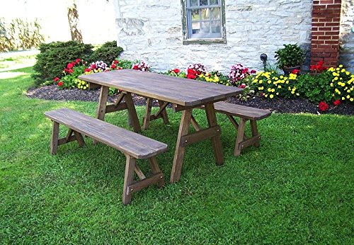 A & L Furniture Co. Pressure Treated Pine 4' Traditional Table w/2 Benches - Specify for FREE 2