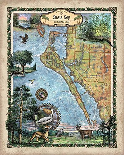 Amazon Com Great River Arts Siesta Key Map Wall Art Print Vintage