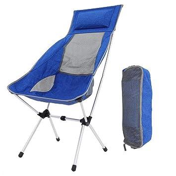 Silla Plegable Camping, Portátil Reclinable Silla Camping Aluminio Ligera Comoda Silla de Camping Set con Bolsa ...