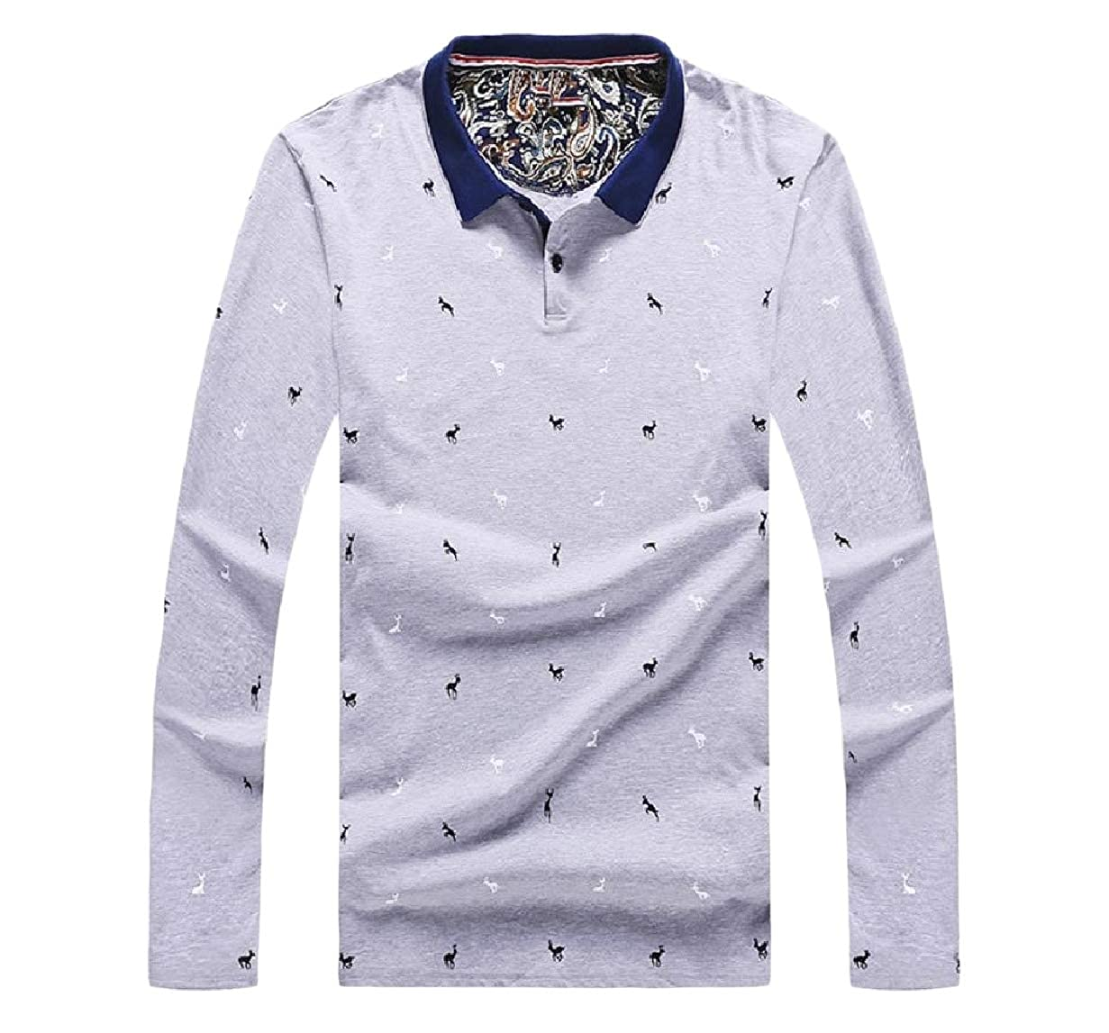 Tootless-Men Floral Printed Classic Fitness Fall Long Sleeve Polo Shirt