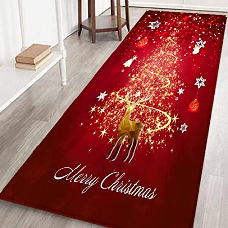 Amazon Com Bornbayb 3d Merry Christmas Printed Bath Mats And Rugs Flannel Fabric Non Slip Rubber Backing Absorbent Bathroom Rug Kitchen Rug Floor Carpet 24 X 71 Inches Home Kitchen