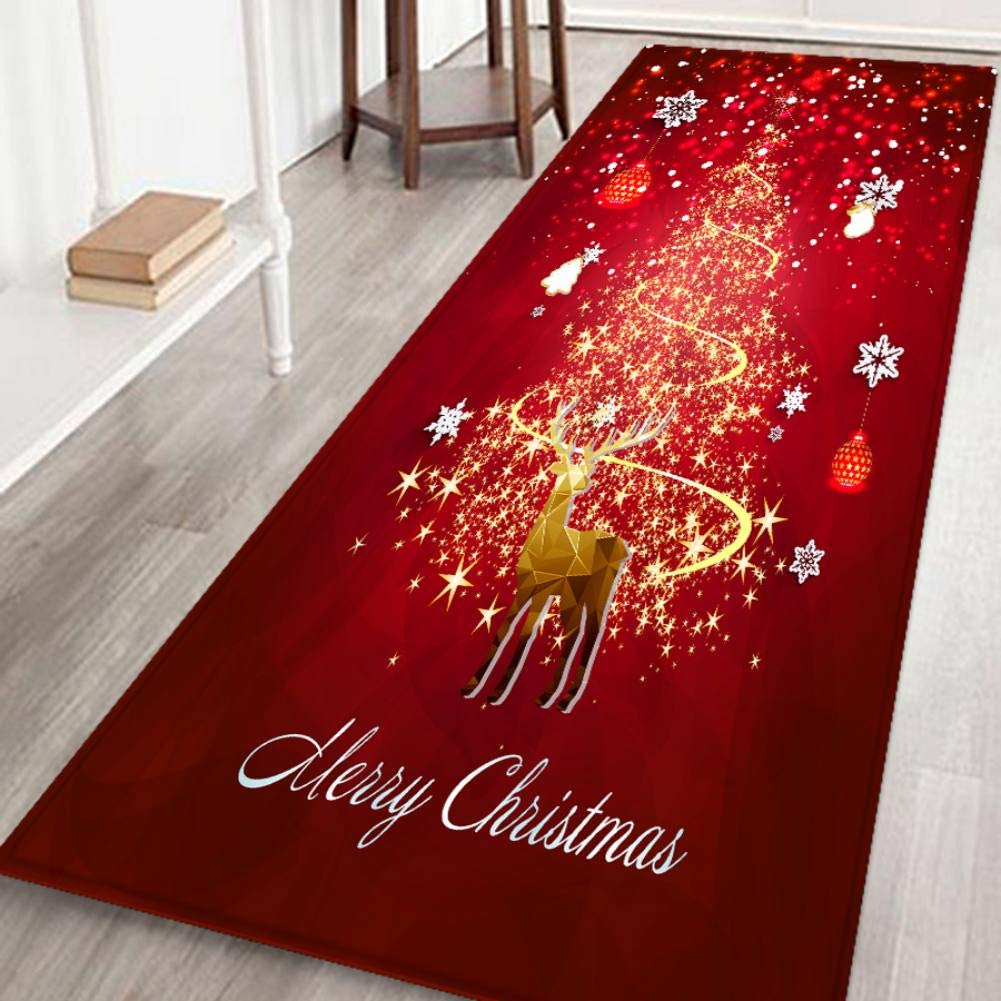 Christmas Runner Rugs.Hankyky Christmas Reindeer Xmas Tree Stocks Floor Runner Area Rugs Non Slip Floor Mat Doormats Living Room Bedroom