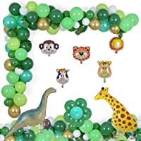 Jungle Party Decorations 124 Pcs Balloons Garland Kit Safari Tropical Animal Theme Decor Foil Balloon for Kid's Birthday…