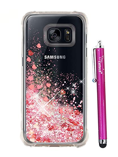 cheap for discount 4fbcf 26bd5 S7 Glitter Case,Galaxy S7 Case Glitter, Cattech Glitter Liquid Sparkle  Floating Luxury Bling Quicksand [Drop Protection] [Non-slip] Slim Clear  Soft ...