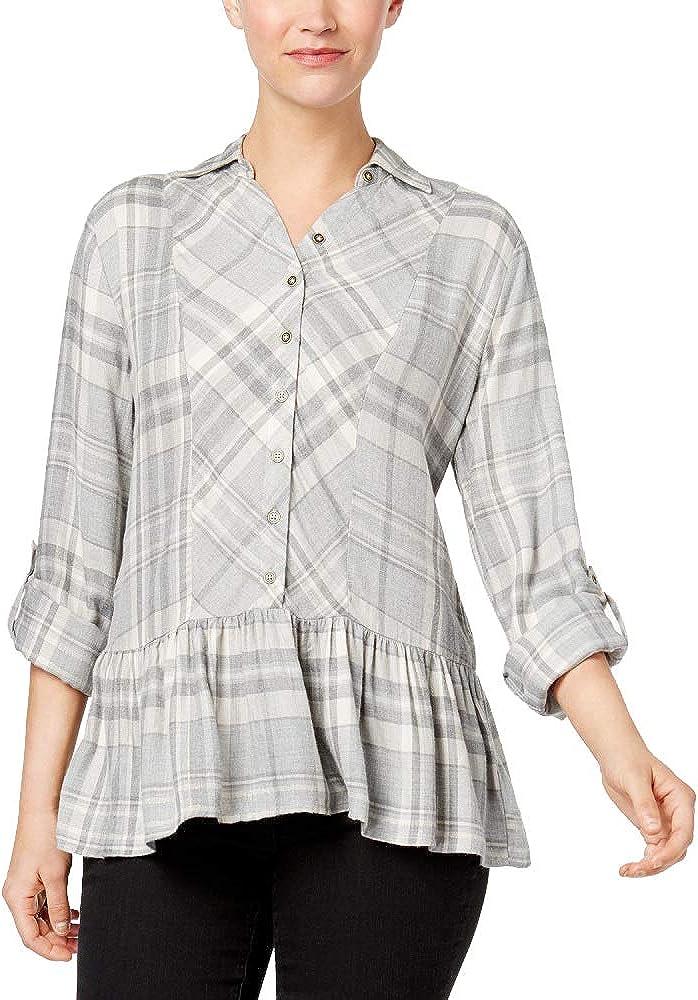 STYLE /& CO Plus Size Short Sleeve Slub Rayon Knit Top w//Peplum Hem New