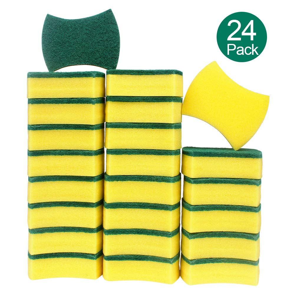 esafio Heavy Duty Scrub Sponge, Multi-Use Cleaning Sponges, Size: 10 x 8 x 3cm, 4'' x 3.2'' x 1.2'' (24 Pack)
