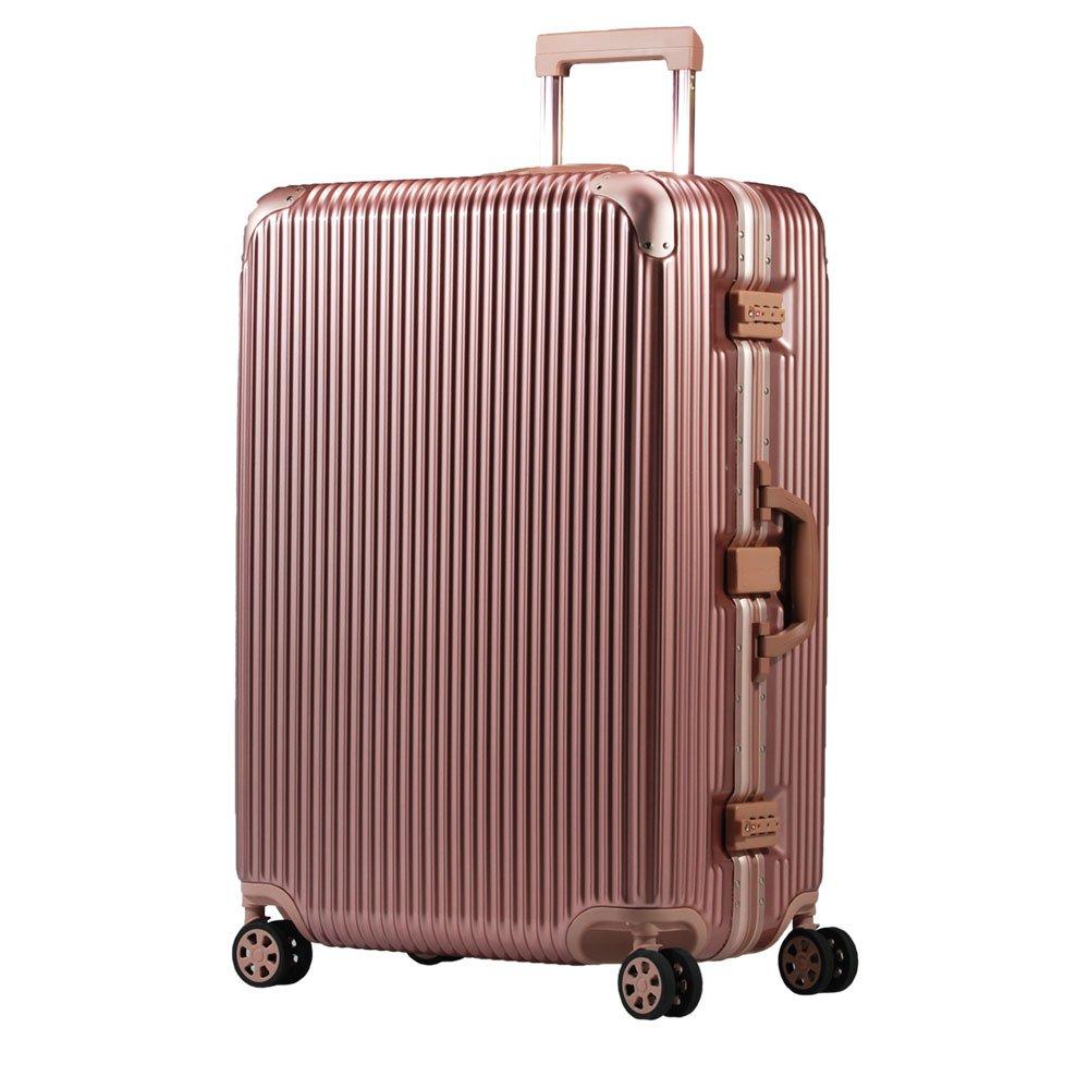 スーツケース アルミフレーム 機内持込~大型 軽量 超消音 ダブルキャスター 8輪 TSA キャリーケース キャリーバッグ B074XSJKGJ L(5~7泊)-66L|ローズゴールド ローズゴールド L(5~7泊)-66L