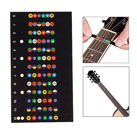 Pawaca Bass - Pegatinas de Escala para Guitarra, calcomanías Coloridas para diapasón, Mapa de Notas, Guitarra eléctrica extraíble, Instrumentos Musicales ...
