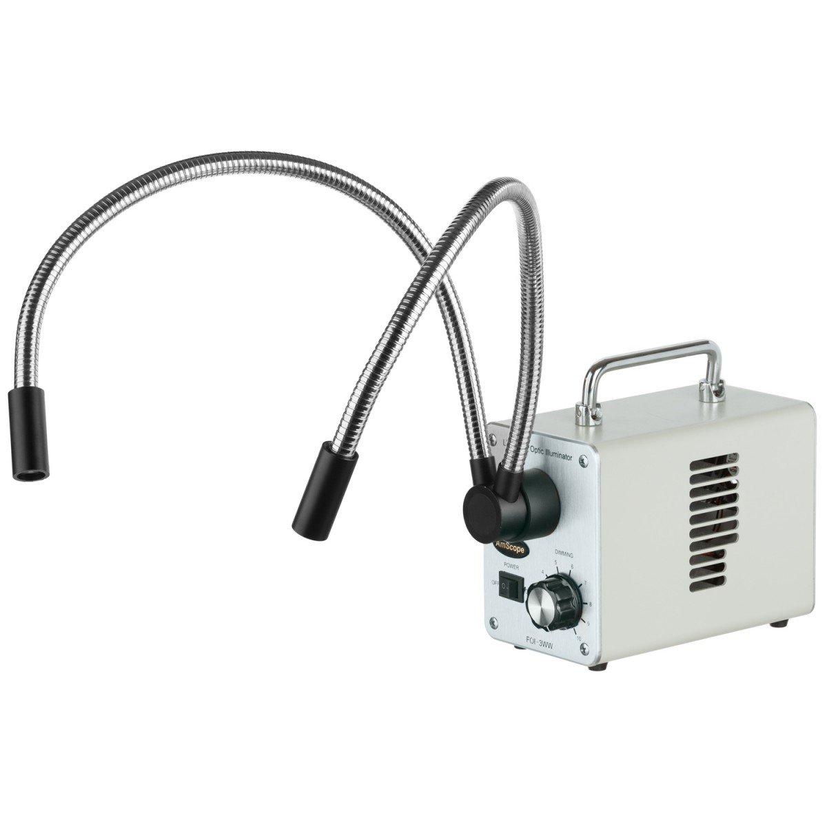 1.3MP USB2.0 Camera AmScope 3.5X-90X Zoom Stereo Trinocular Microscope on Dual-Arm Boom Stand with Dual-Fiber-Optic LED Illuminator