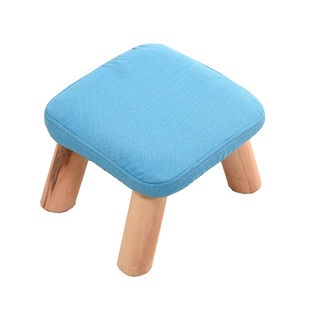 Solid wood low stool Tea table Small stool adult indoor Shoe bench Footstool (282820cm) (Color : Blue)