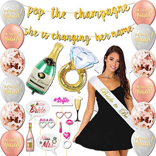 Golden Shop Bachelorette Party Decorations Kit | Bridal