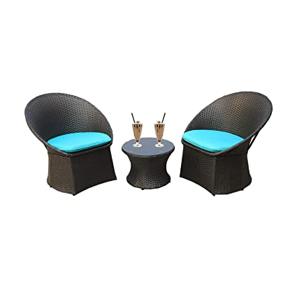 Fantastic Outdoor Rattan Black Wicker Bistro Set Garden Patio Furniture Conversation Chair Table Cushioned Sets Turquoise Cushion 3 Piece Onthecornerstone Fun Painted Chair Ideas Images Onthecornerstoneorg