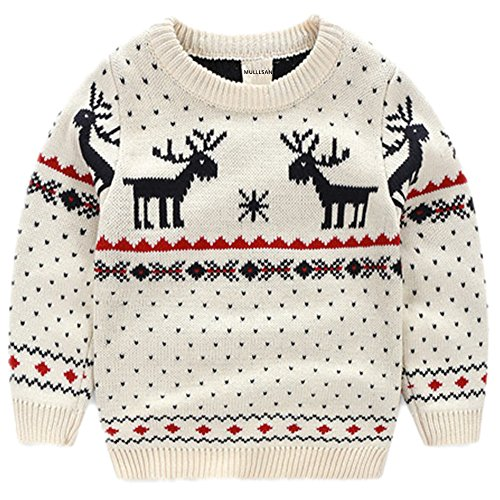 MULLSAN Children's Fireplace Lovely Sweater Christmas Best Gift (2T, White)