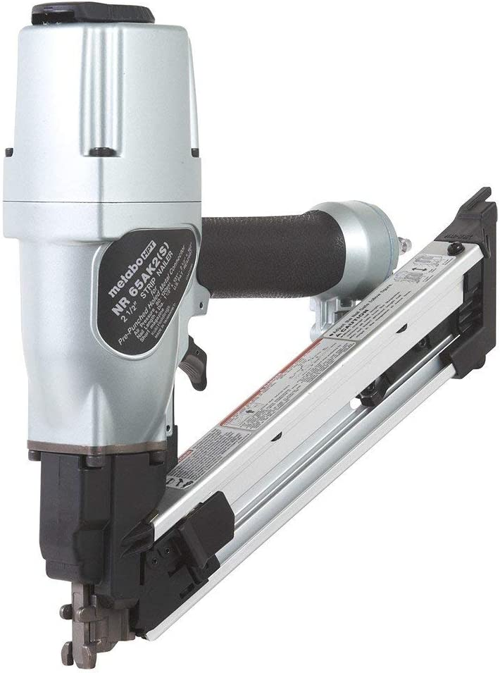 "Metabo HPT Positive Placement Nailer, Short Magazine, Pneumatic, Accepts 1-1/2"" and 2-1/2"" Nails, Metal Connector, Strap-Tite Fastening System, (NR65AK2(S))"