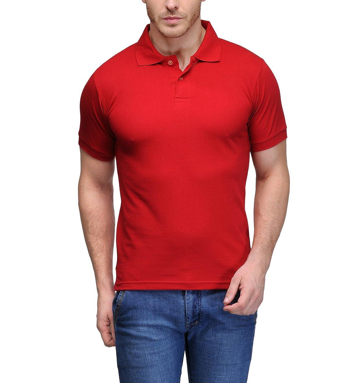 46670c9b Scott Men's Plain Rich Cotton Polo T-Shirt - Red: Amazon.in: Clothing &  Accessories