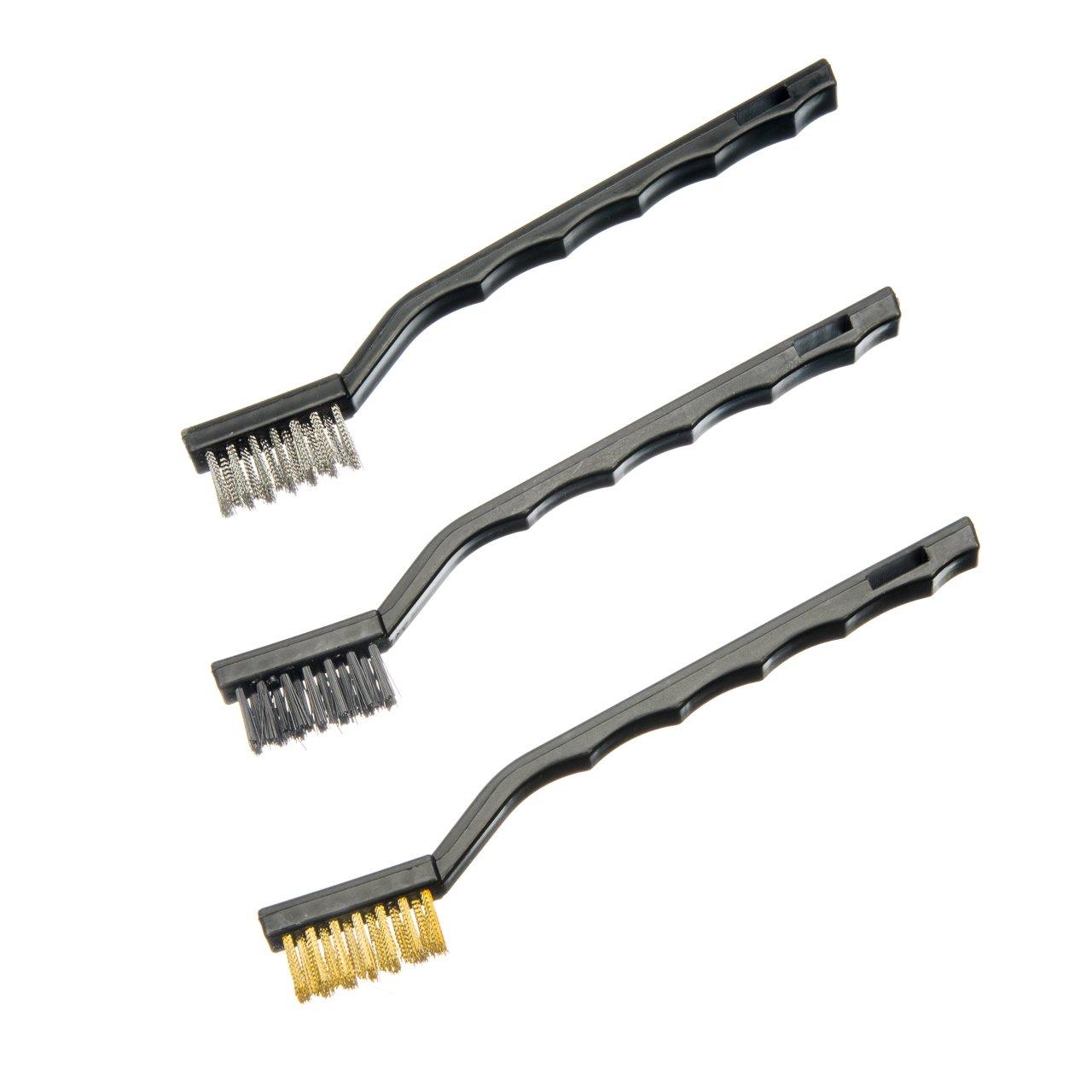 SE 772WBP 3-Piece Mini Wire Brush Set, Plastic Handle, Brass, Nylon, Stainless Steel