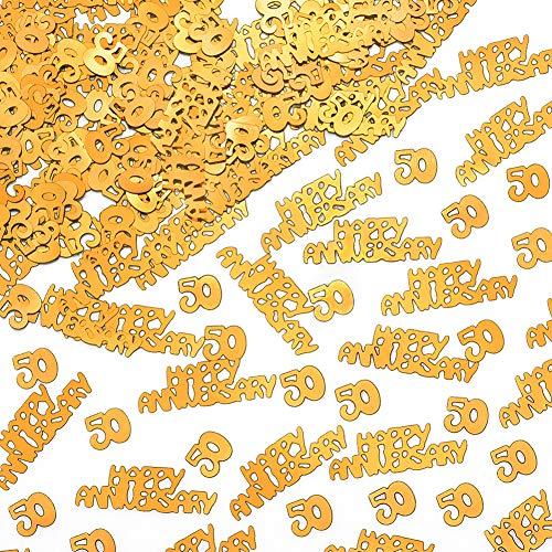 50th Anniversary Decorations Confetti Glitter - Anniversary Party Table Decorations 50 HAPPY ANNIVERSARY Gold Confetti, Perfect for Table DecorationsParty Supplies And DIY Crafts(50 Happy Anniversar)]()