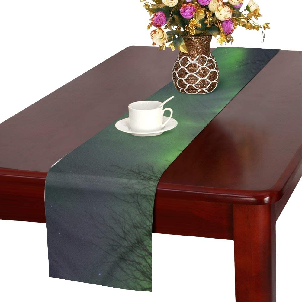 Amazon Com Mbvfd Centerpiece Table Runner Winter Night With Polar Light Mexican Table Runner Table Set Decoration 16x72 Inch For Dinner Parties Events Decor Home Kitchen