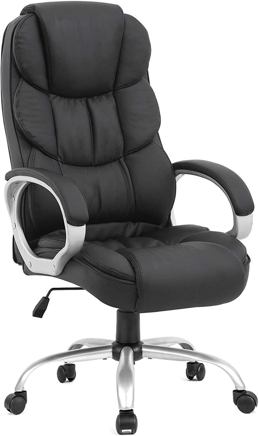 Ergonomic Office Chair Desk Chair Computer Chair with Lumbar Support Arms Executive Rolling Swivel PU Leather Task Chair for Women Adults, Black: Furniture & Decor