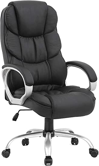 Ergonomic Office Chair Desk Chair Computer Chair with Lumbar Support Arms Executive Rolling Swivel PU Leather Task Chair for Women Adults, Black