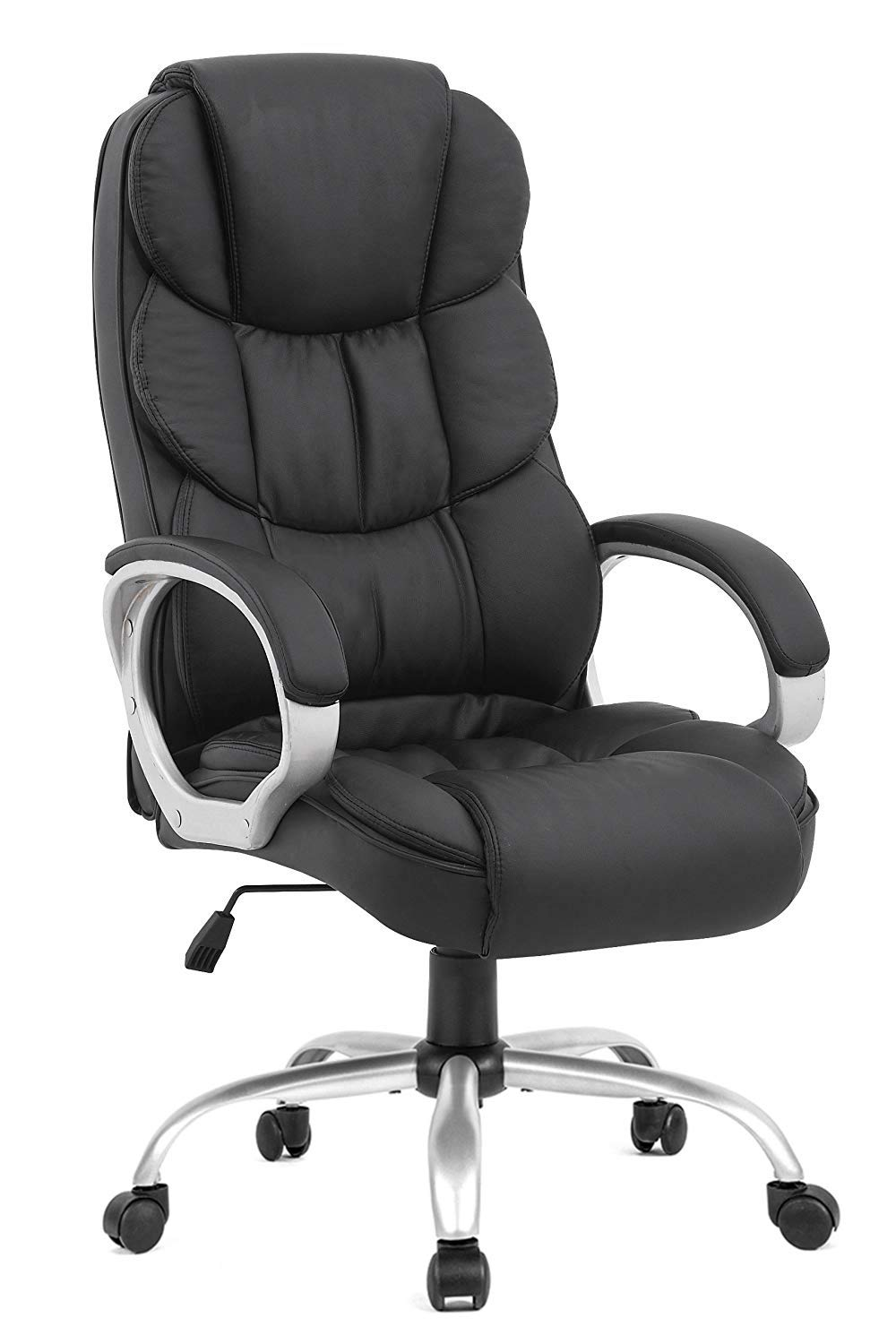 BestOffice Office Chair Cheap Desk Chair Ergonomic Computer Chair with Lumbar Support Arms Headrest PU Leather Modern Rolling Swivel Executive Chair for Back Pain Women Men Adults,Black by BestOffice