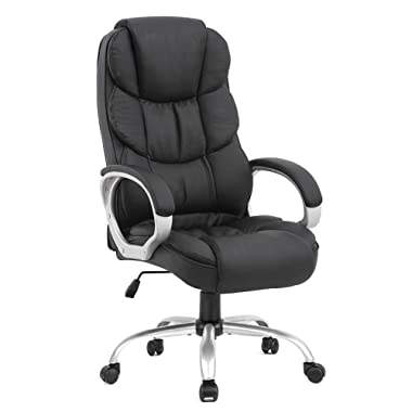 BestOffice Office Chair Cheap Desk Chair Ergonomic Computer Chair with Lumbar Support Arms Headrest PU Leather Modern Rolling Swivel Executive Chair for Back Pain Women Men Adults,Black