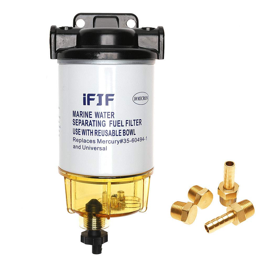 Aluminum Marine Fuel Water Separating Filter 3/8 Inch NPT Port for Outboard Motor Mercury 35-60494-1 Reusable Bowl Anti Corrosion 10 Micron Filter(Include Four Fittings)