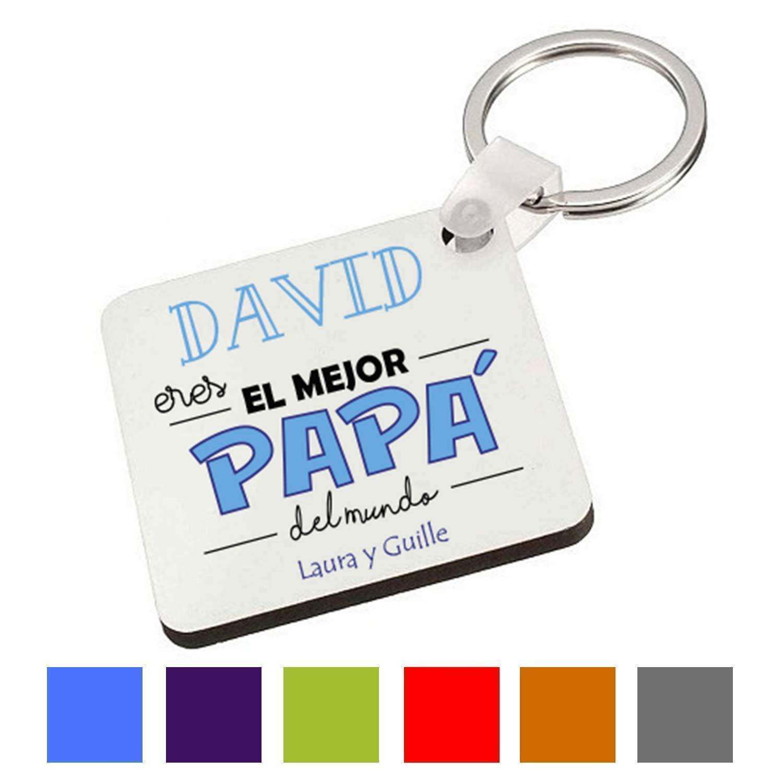 Kembilove Llavero Personalizado para Padre - Llavero Cuadrado Eres el Mejor Papá del Mundo - Regalo Original para el día del Padre, Cumpleaños