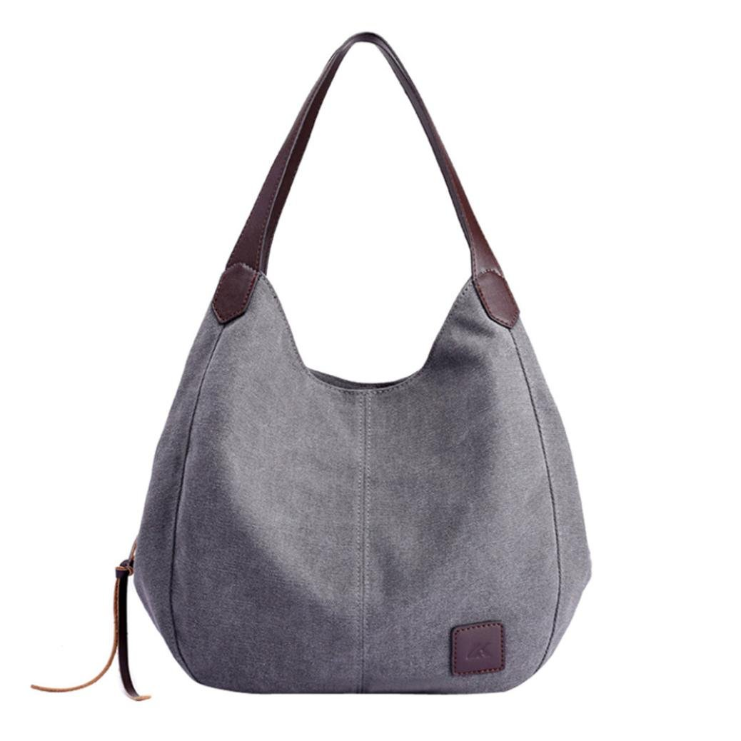 Womens Handbags BCDshop Lady Classic Canvas Vintage Hobos Shoulder Bags Low Profile Tote Bag (Gray)