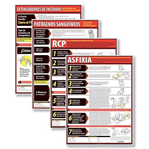 ComplyRight Lifesaving Poster Set - SPANISH (4) (Includes: CPR, Choking, Fire Extinguishers & Bloodborne (Bloodborne Pathogens Poster)