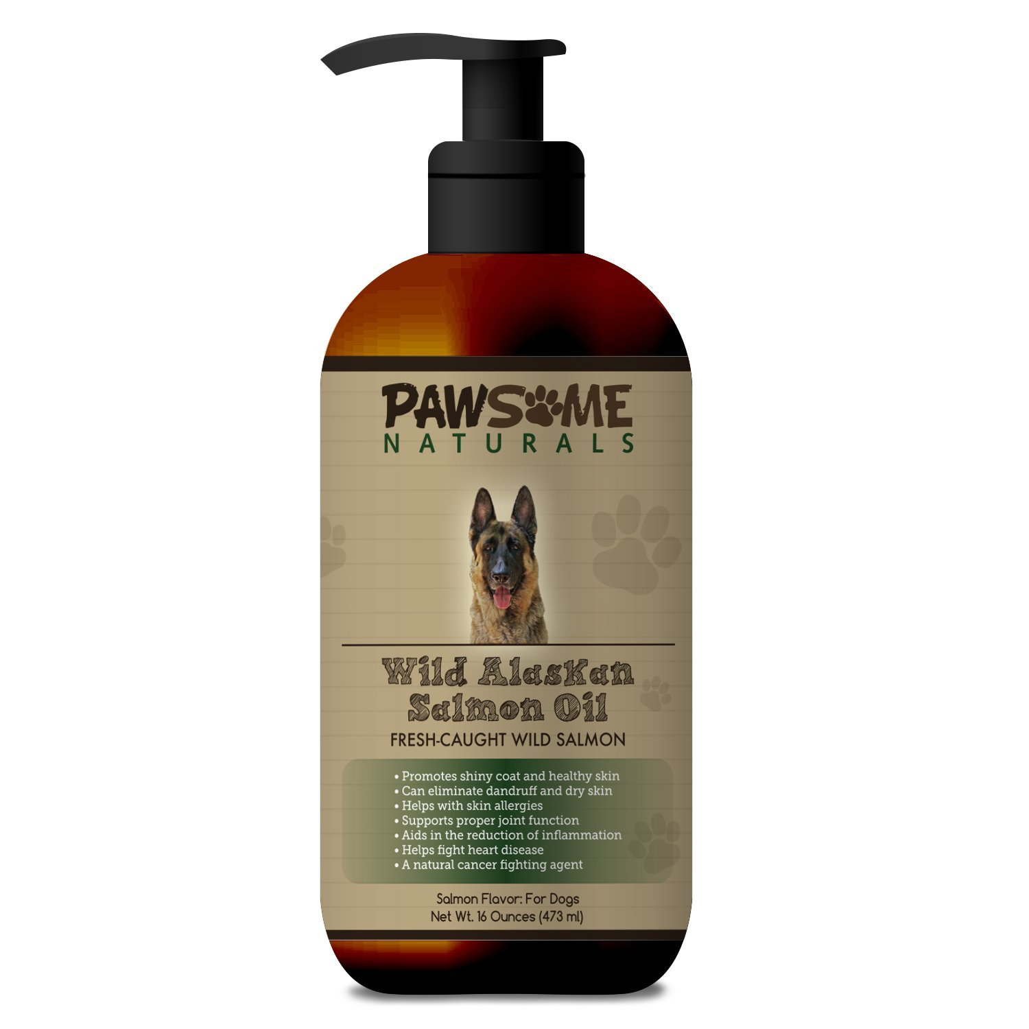 Pure Natural Wild Alaskan Salmon Oil For Dogs: Liquid Supplement Rich in Omega-3-6 Fatty Acids (EPA & DHA). Supports Healthy Skin, Coat, Heart and Joint Function and Boosts The Immune System - 16 OZ by FITMAKER
