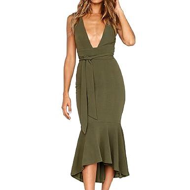 14bae3cb2002a1 PAOLIAN Kleider, Frauen Lange Maxikleid Abendkleid Sommerkleid Tiefes  V-Ausschnitt Kleid Damen Sommer Party Kleid Cocktailkleid: Amazon.de:  Bekleidung
