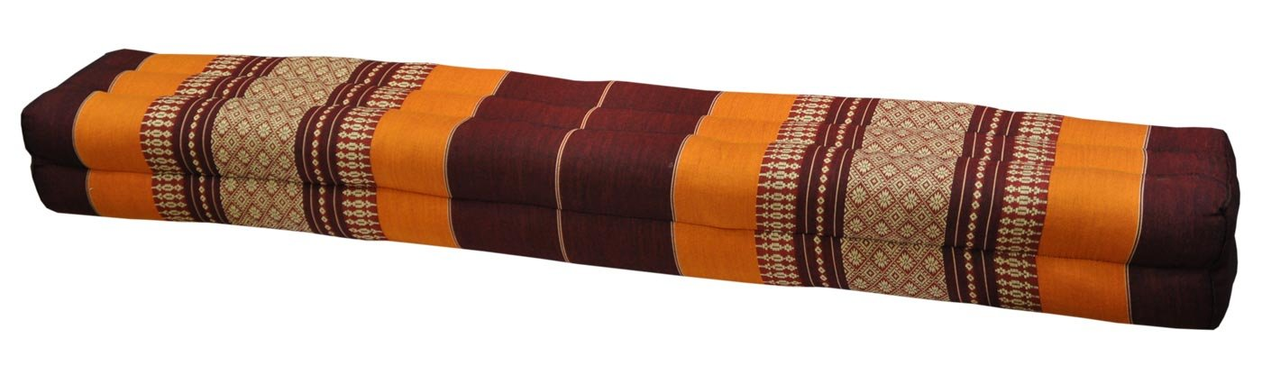 Thai cushion bolster , pillow, sofa, imported from Thaïland, brown/orange, relaxation, beach, pool, meditation garden (81111) by Wilai GmbH