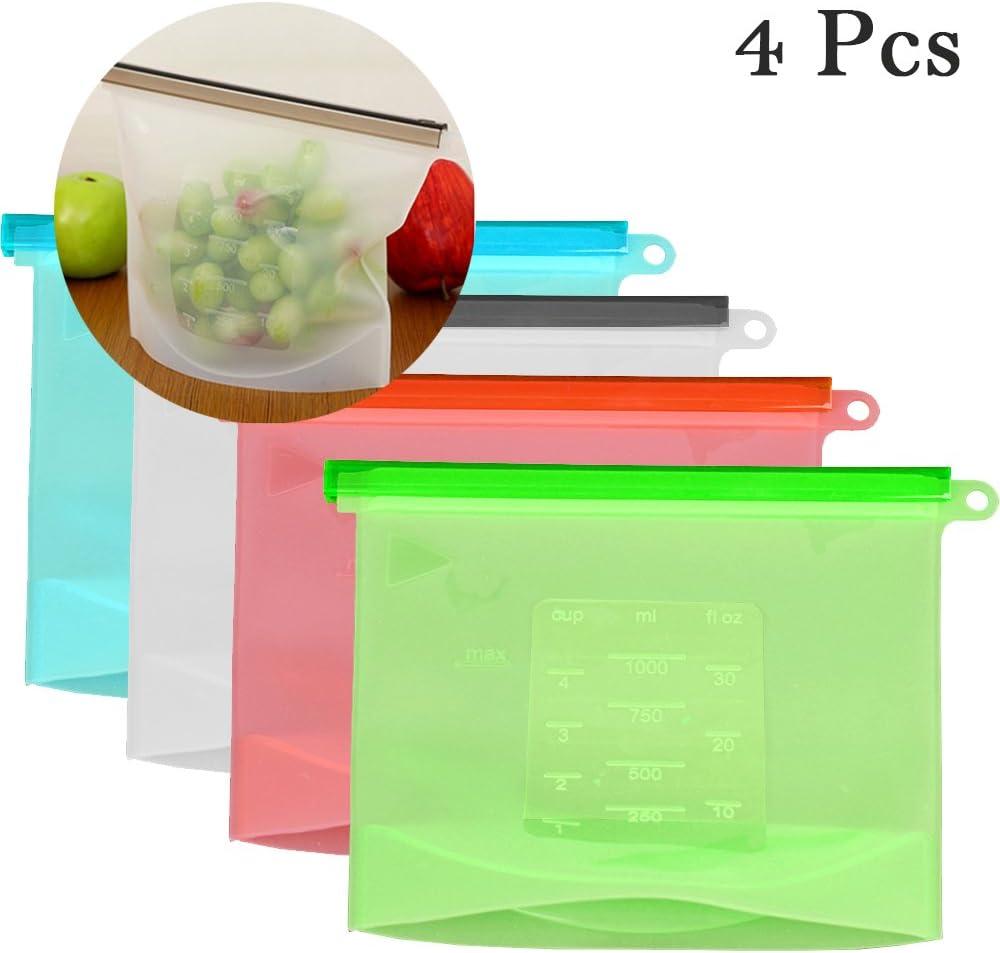 sellada caja de almacenaje con ventilaci/ón y a prueba de fugas de silicona reutilizables /& SGS de la FDA silicona de grado alimenticio 4 Pack bolsa de conservaci/ón de alimentos cremallera gal/ón