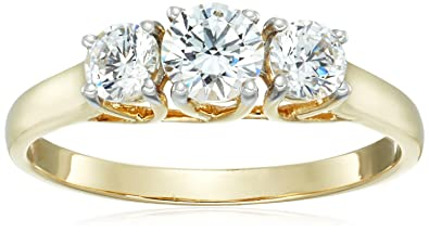 96f27d0c03174f Image Unavailable. Image not available for. Color: Jewelili 10K Yellow Gold  3 Stone Ring Set with Round Cut Swarovski Zirconia ...
