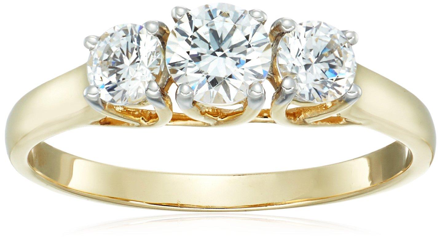 10K Yellow Gold 3 Stone Ring set with Round Cut Swarovski Zirconia (1 cttw), Size 7