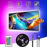SHOPLED TV LED Backlight, 9.8ft USB Powered RGB Strip Lights Kit for 40-60 inch TVs, Monitor Backlight Lighting Kit for…