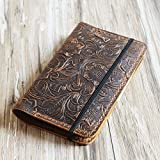 Genuine Tooled Leather cover for moleskine classic notebook Large size, leather notebook refillable 8x5 moleskine large (5 x 8.25)
