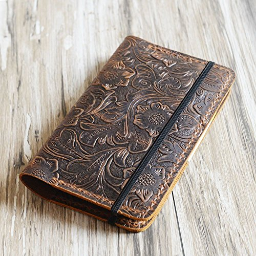 Genuine Tooled Leather cover for moleskine classic notebook Large size, leather notebook refillable 8x5 moleskine large (5 x 8.25) by EXTRA STUDIO