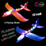 2 pcs Flashing Luminous Glider Plane 2 Flight Mode Aerobatic Superb Charming Shining Foam Airplane can Fly at Night for Kids as The Best Gift,by MIMIDOU.