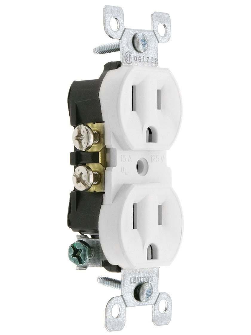 Leviton Duplex Receptacle In White. Outlet Receptacles.