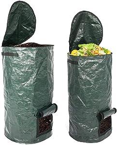 JAOCDOEN 2 Pack Organic Compost Bags 15 Gallon 34 Gallon Garden Compost Bins Reusable PE Waste Disposal Compost Bags for Kitchen Garden Yard