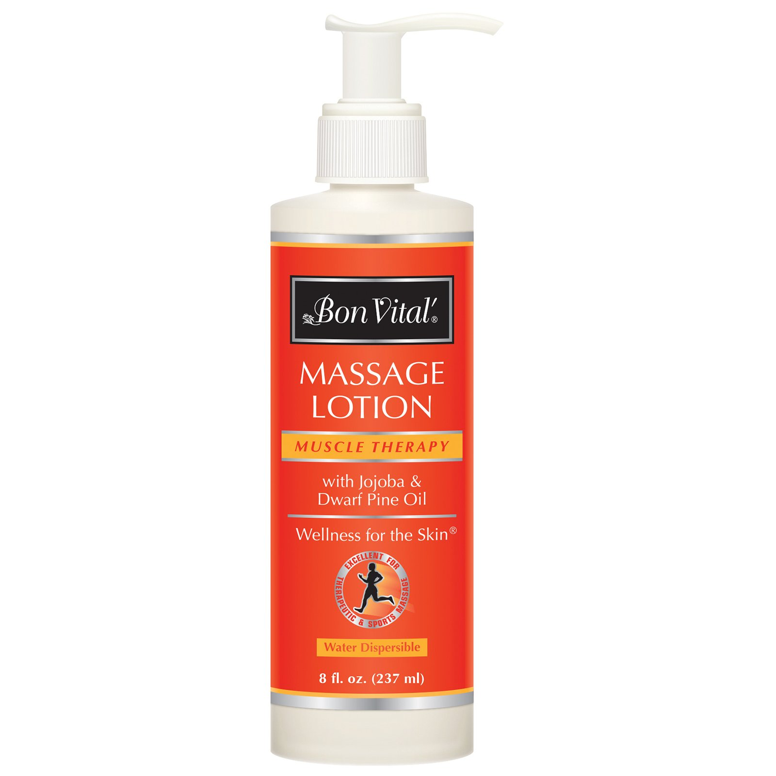 Bon Vital' Muscle Therapy Massage Lotion Made with Dwarf Pine Oil and Essential Oils for a Relaxing Massage and Sore Muscle Relief, Aids in Muscle Recovery Through IASTM and Graston, 8 Oz Pump Bottle