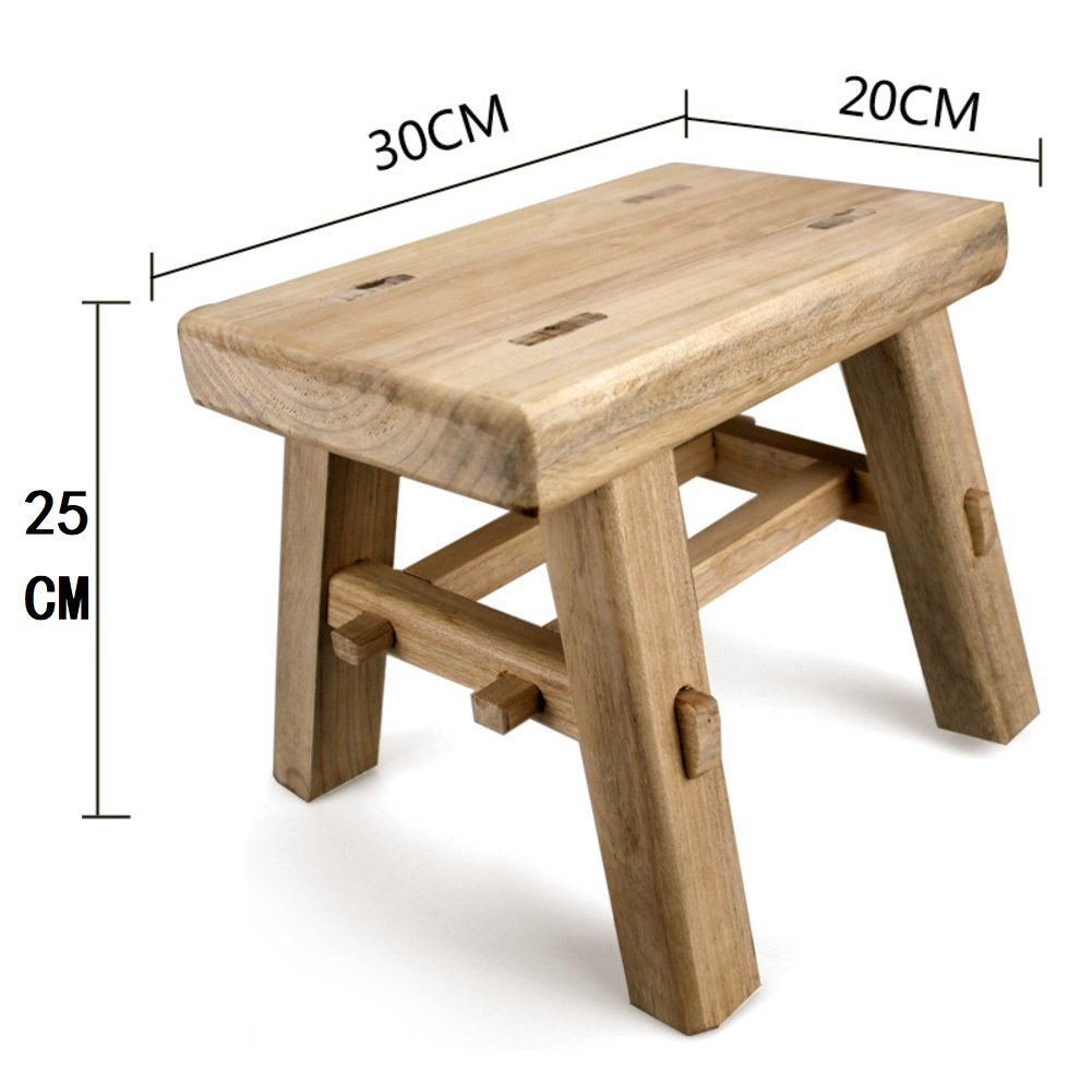 Denzihx Unfinished Wood Step stool Anti-skidding,Sturdy Camphor wood Ancient chinese Tenon and mortise structure Chair Without nails and glue-A 25cm