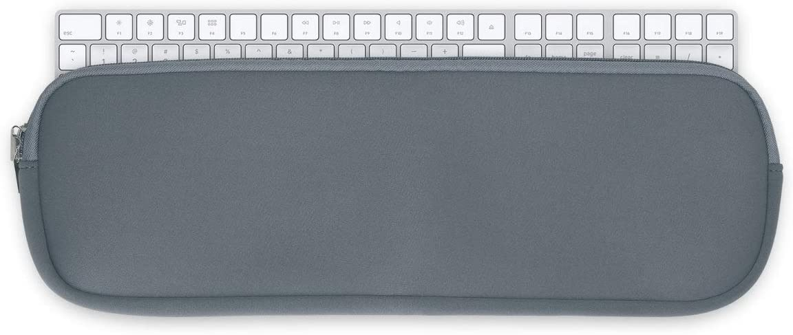 kwmobile Neoprene Pouch Compatible with Apple Magic Keyboard with Numeric Keypad - Keyboard Protector Dust Cover with Zipper - Grey