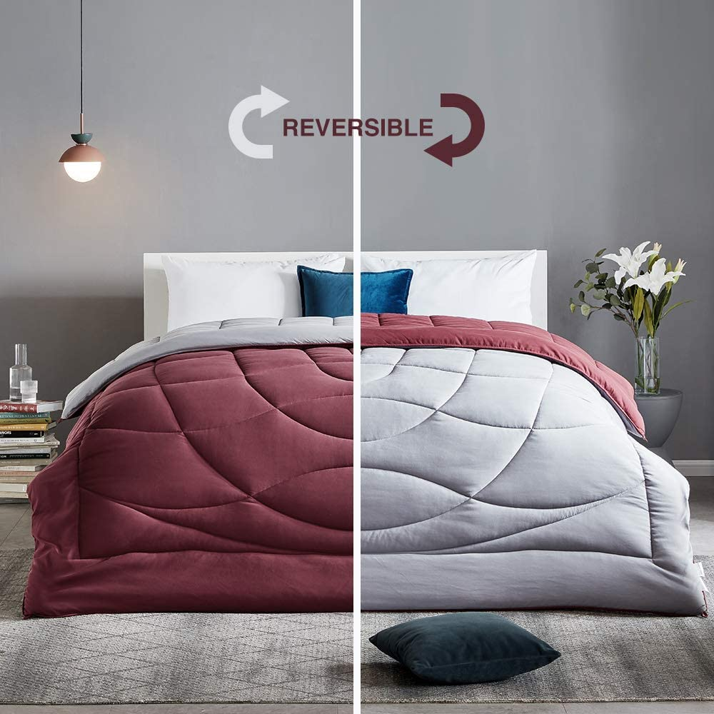 SLEEP ZONE All Season Comforter Down Alternative Temperature Regulation Reversible Duvet, Burgundy+Grey, Full/Queen