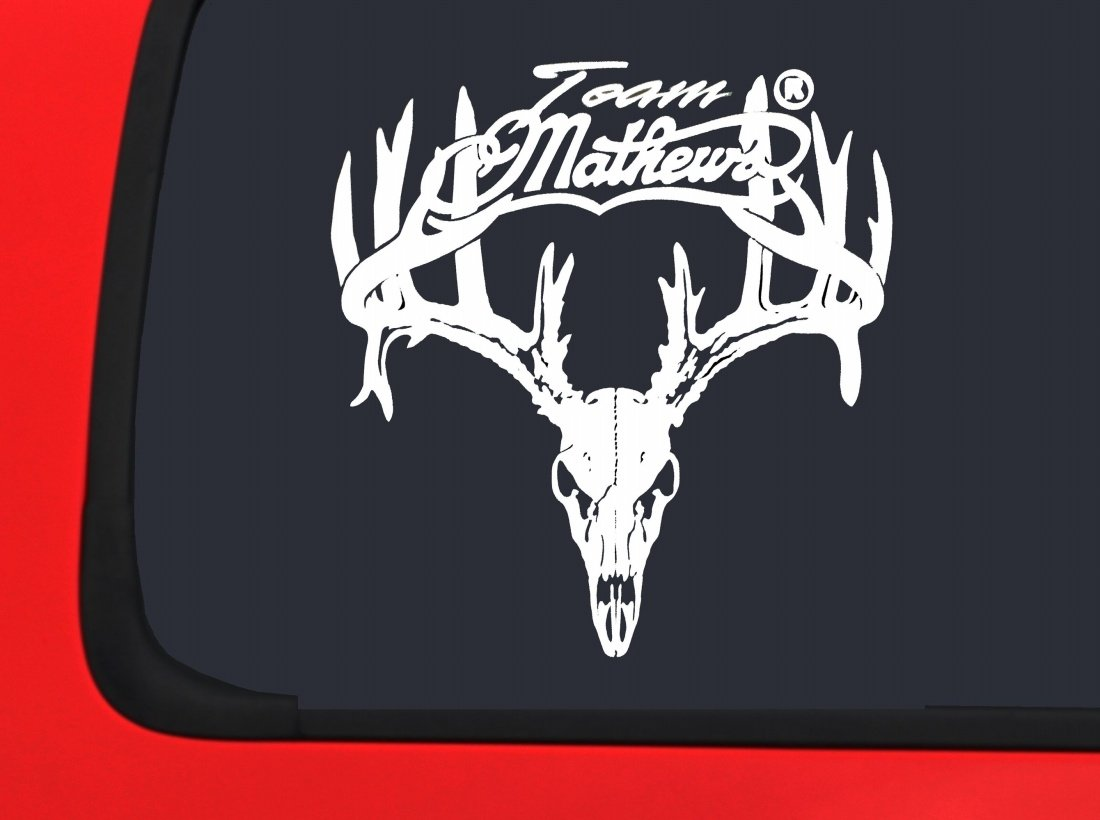 Amazoncom Team Mathews Full Skull With Antlers Whitetail White - Window stickers for trucks hunting