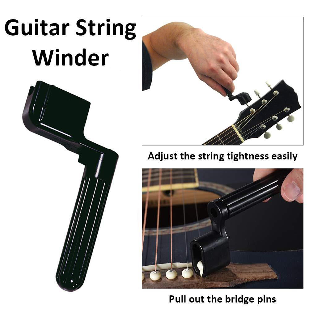 ,Setup Kit Accessories,Strings Organizer+Picks+Capo+Hex Wrenches+Bridge Pins+Wire Plier+Peg Winder+Screwdriver for Ukulele Bass Mandolin Banjo 38 Pcs Guitar Repairing Tool Kit