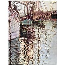EGON SCHIELE SAILBOATS IN WELLENBEWEGTEM WATER THE PORT TRIESTE ART PRINT 12x16 inch 30x40cm 831OM