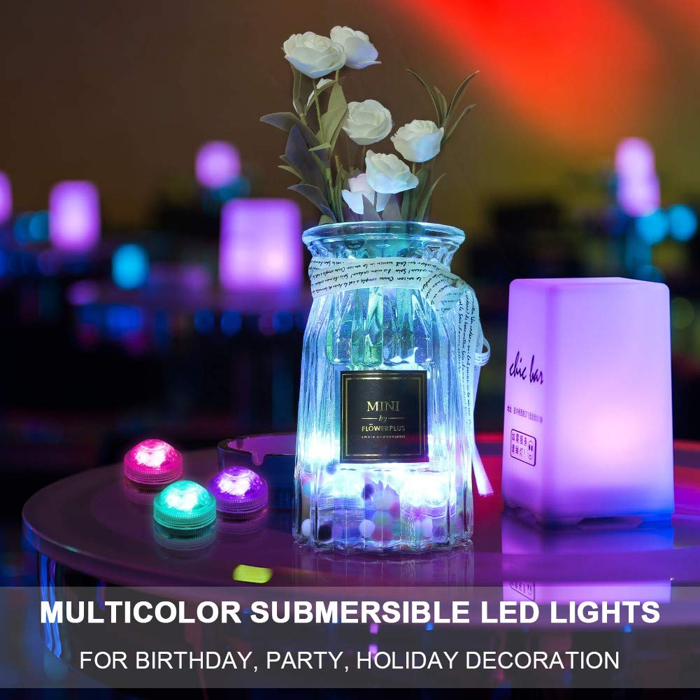 AMAGIC 12pcs Submersible LED Lights, Waterproof Underwater Lights, Battery Powered RGB Color Changing Tea Lights with 2 Remote Controls for Vase, Pool, Party and Holiday Decros by AMAGIC (Image #2)